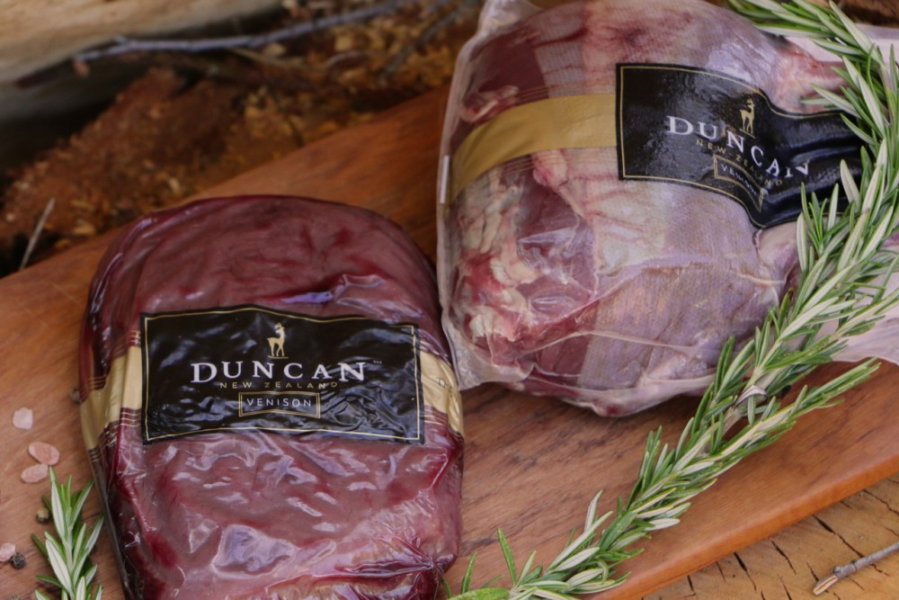 Packaged venison shortloin and frenched rack